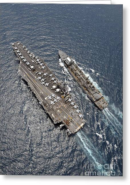 The Higher Planes Greeting Cards - Aerial View Of Aircraft Carrier Uss Greeting Card by Stocktrek Images