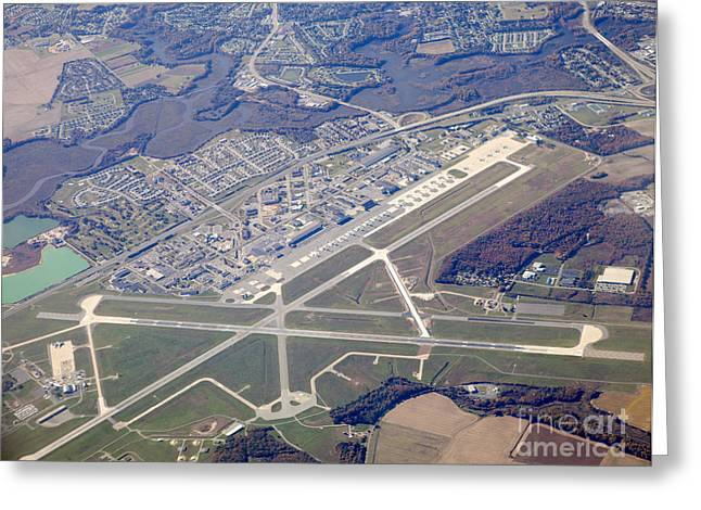 Traffic Control Greeting Cards - Aerial view of an airport. Greeting Card by Anthony Totah
