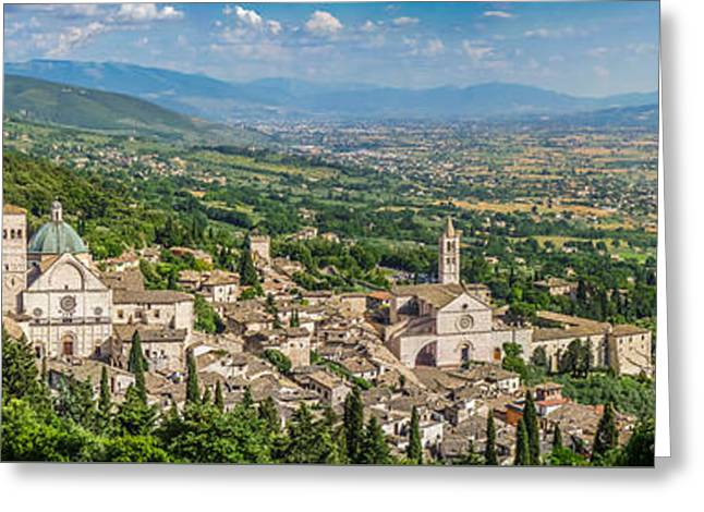 Francis Greeting Cards - Aerial view of Assisi with golden-green fields of Umbria, Italy Greeting Card by JR Photography