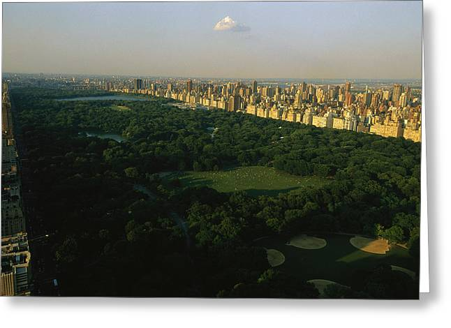 New York Manhattan Island Greeting Cards - Aerial View Of Central Park, An Oasis Greeting Card by Melissa Farlow
