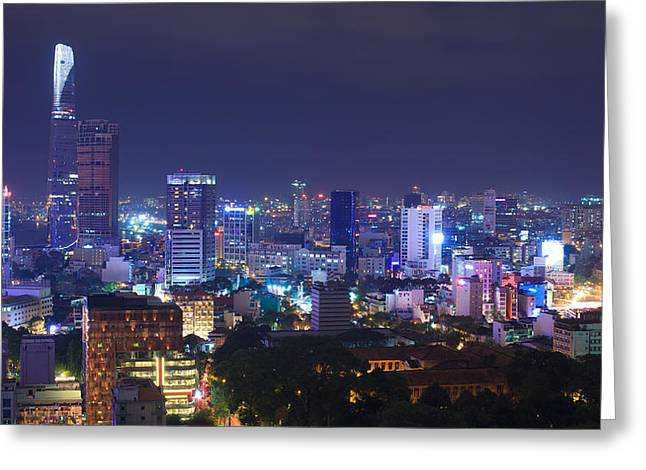 Residential Structure Greeting Cards - Aerial view of Ho Chi Minh city center at night. Greeting Card by Huynh Thu