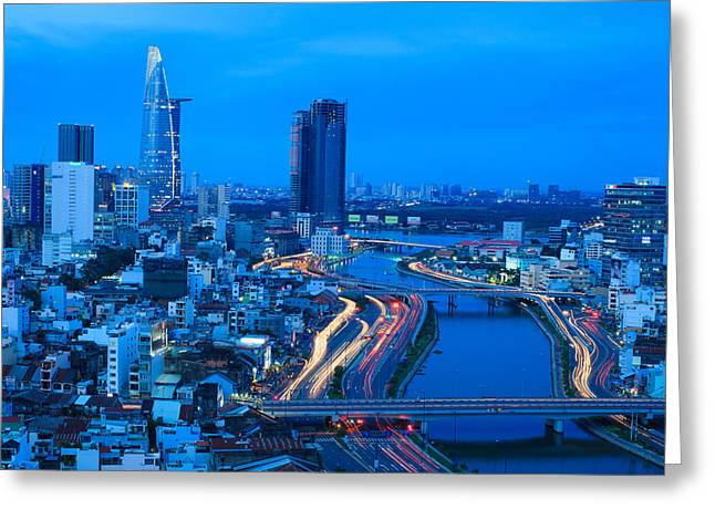Residential Structure Greeting Cards - Aerial view of Ho Chi Minh city riverside at night. Greeting Card by Huynh Thu