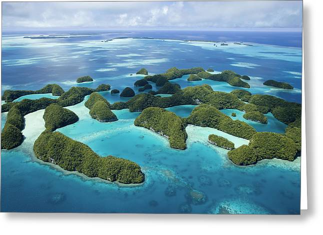 Micronesia Greeting Cards - Aerial View Of Palaus Rock Islands Greeting Card by Stephen Alvarez