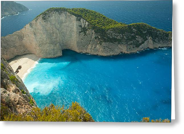 Ionian Island Greeting Cards - Aerial View Of Shipwreck Bay Greeting Card by Panoramic Images