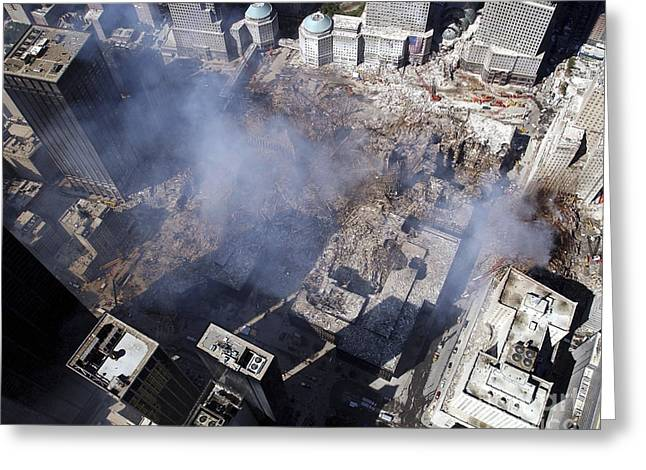 Ground Zero Greeting Cards - Aerial View Of The Destruction Where Greeting Card by Stocktrek Images