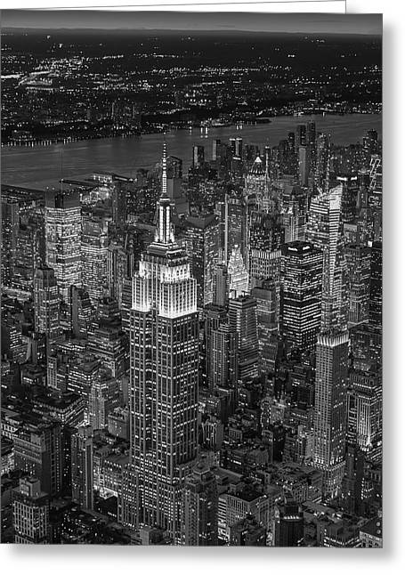 Empire State Building Greeting Cards - Aerial View Of The Empire State Building BW Greeting Card by Susan Candelario