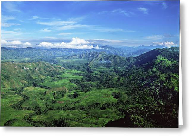 Peaceful Scenery Greeting Cards - Aerial View Of The Highlands  Papua New Greeting Card by David Kirkland