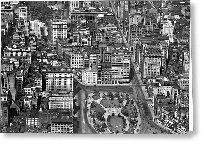 Union Square Greeting Cards - Aerial View Of Union Square Greeting Card by Underwood Archives