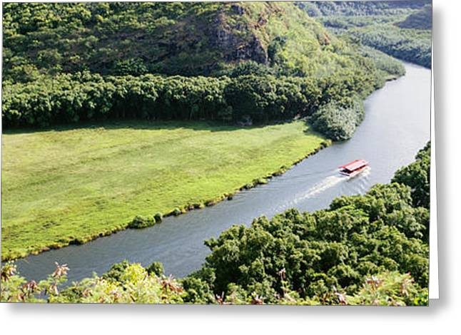 Boat Cruise Greeting Cards - aerial view of Wailua River Greeting Card by Bill Schildge - Printscapes