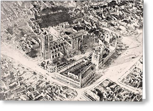 Ypres Greeting Cards - Aerial View Of Ypres In 1915 After Greeting Card by Vintage Design Pics