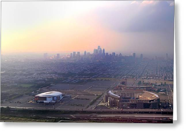 Basketballs Greeting Cards - Aerial View - Philadelphias Stadiums with Cityscape  Greeting Card by Bill Cannon