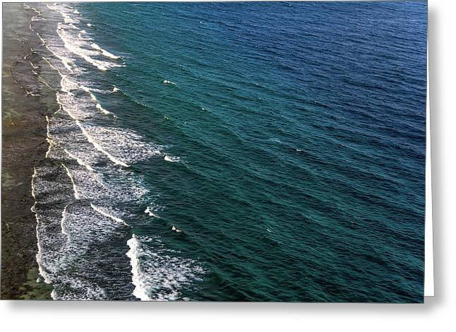 Aerial View To Ocean Surf. Maldives Greeting Card by Jenny Rainbow