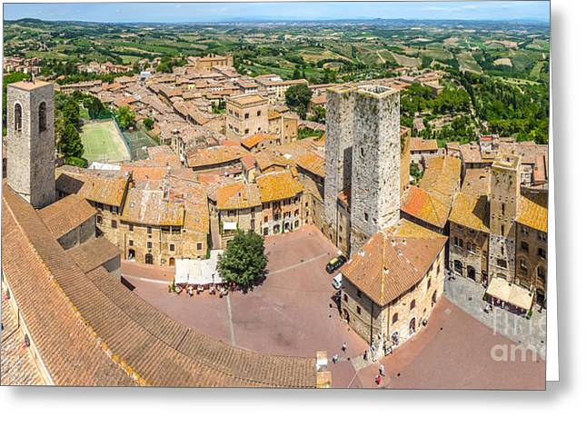 Historic Architecture Greeting Cards - Aerial wide-angle view of the historic town of San Gimignano wit Greeting Card by JR Photography