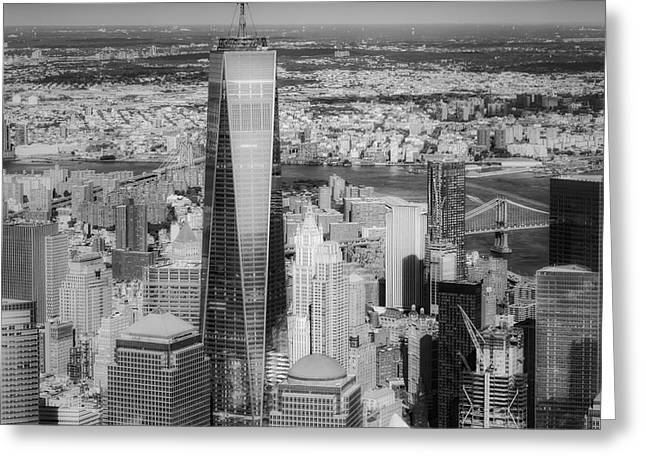 Freedom Greeting Cards - Aerial World Trade Center WTC BW Greeting Card by Susan Candelario