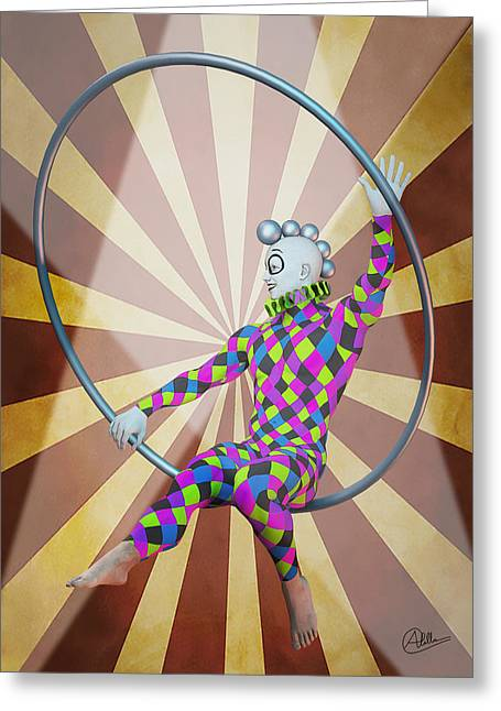 Jester Mixed Media Greeting Cards - Aerialist By Quim Abella Greeting Card by Joaquin Abella