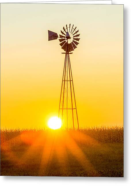 Aermotor Greeting Cards - Aermotor Sunset Vertical Greeting Card by Chris Bordeleau