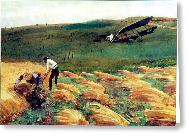 World War One Paintings Greeting Cards - Aeroplane - Crashed Greeting Card by John Singer Sargent