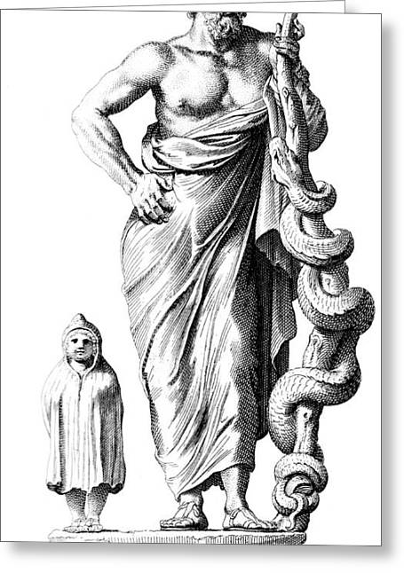 Ancient Greek Art Greeting Cards - Aesculapius, Greek God Of Medicine Greeting Card by Science Source