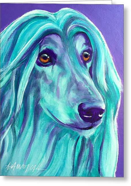 Afghan Hound - Aqua Greeting Card by Alicia VanNoy Call