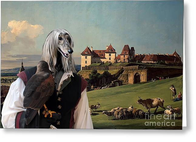 Afghan Hound-falconer And Castle Canvas Fine Art Print Greeting Card by Sandra Sij