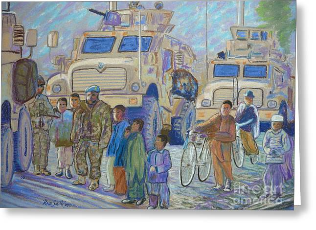 Military Pastels Greeting Cards - Afghanistan 2009 Greeting Card by Rae  Smith