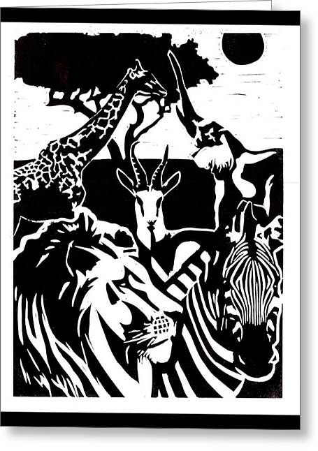 Recently Sold -  - Lino Reliefs Greeting Cards - Africa Greeting Card by Alexis Mackay