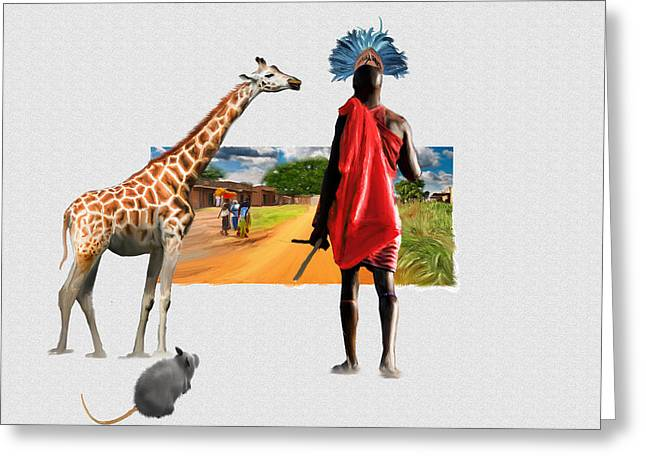 Rhinoceros Greeting Cards - Africa Greeting Card by Lee went