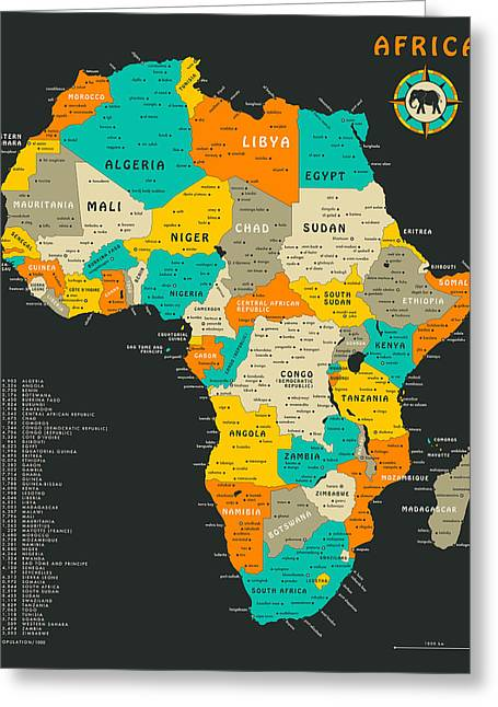 Africa Map Greeting Cards - Africa Map Greeting Card by Jazzberry Blue