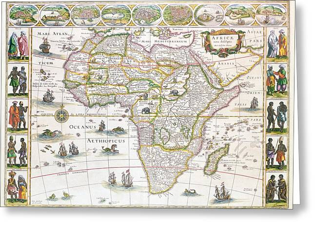 Border Drawings Greeting Cards - Africa Nova Map Greeting Card by Willem Blaeu