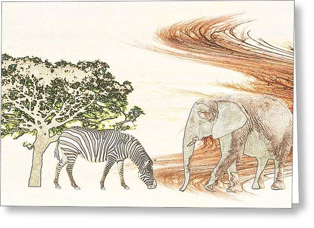 Zebra Canvas Art Prints Greeting Cards - Africa Greeting Card by Sharon Lisa Clarke