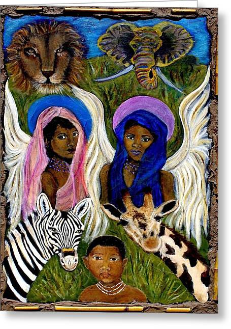Spiritual Portrait Of Woman Greeting Cards - African Angels Greeting Card by The Art With A Heart By Charlotte Phillips