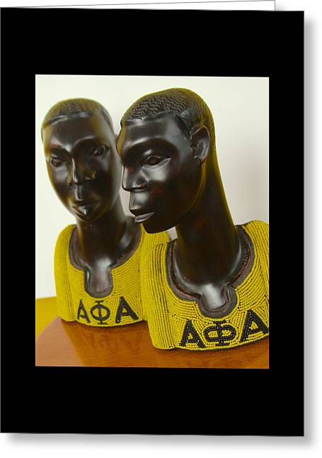 Greek Sculpture Sculptures Greeting Cards - Alpha Phi Alpha an African Expression Greeting Card by Shaakira Edison