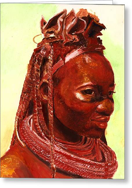 Ethnic Greeting Cards - African Beauty Greeting Card by Enzie Shahmiri
