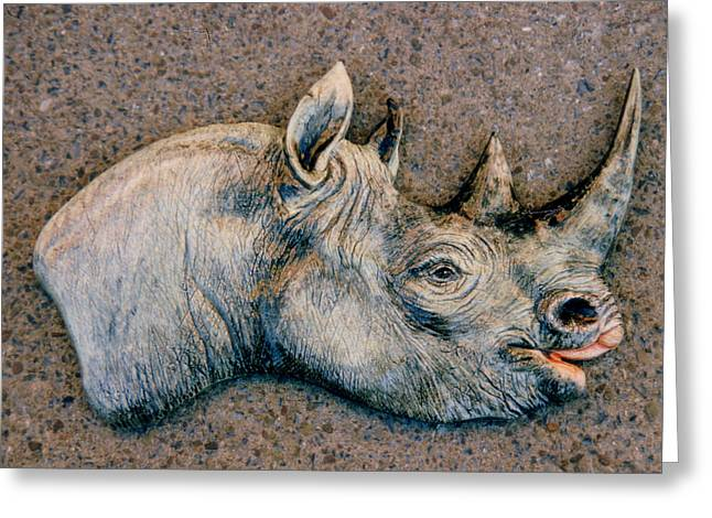 African Ceramics Greeting Cards - African Black Rhino Greeting Card by Dy Witt