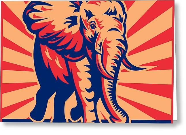 african bull elephant charging retro Greeting Card by Aloysius Patrimonio