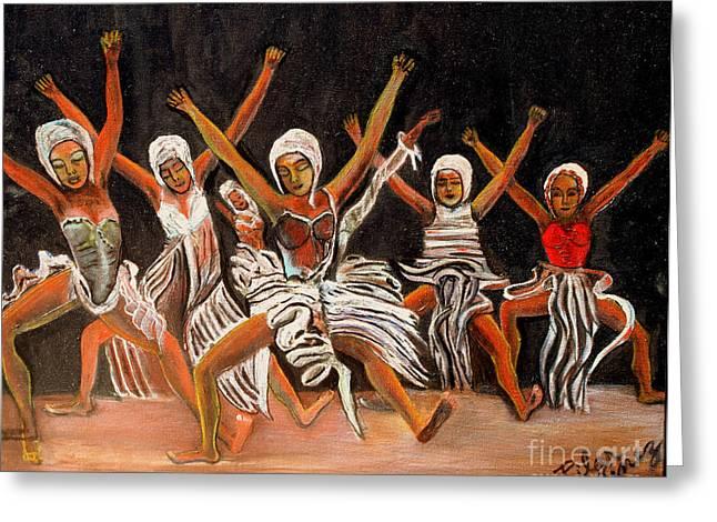 African Dancers Greeting Card by Pilar  Martinez-Byrne