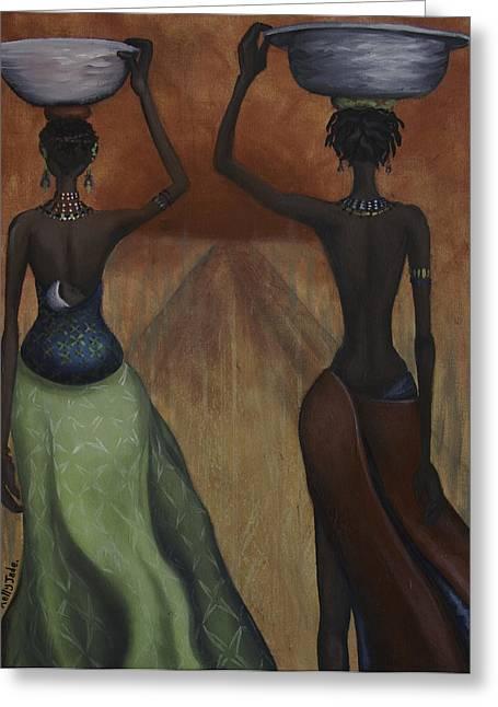 Kelly Paintings Greeting Cards - African Desires Greeting Card by Kelly Jade King