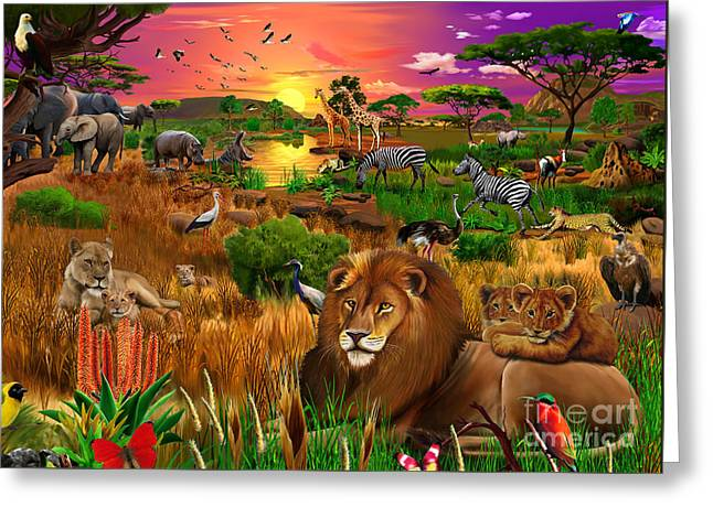 Lioness Greeting Cards - African Evening Greeting Card by Gerald Newton
