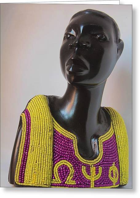 Recently Sold -  - African-americans Sculptures Greeting Cards - Omega Psi Phi An African Expression Greeting Card by Shaakira Edison