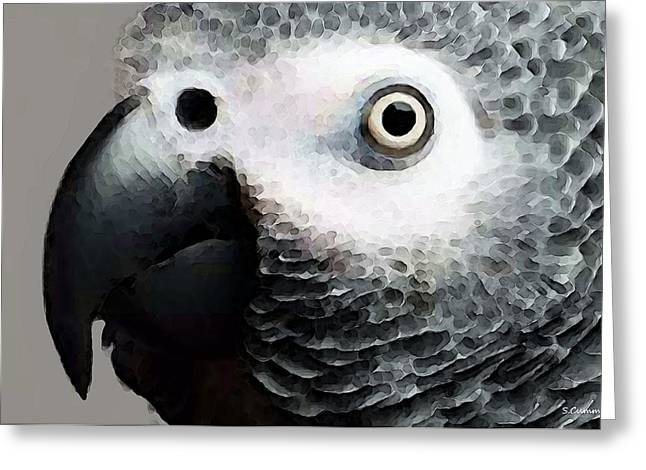 Birds Greeting Cards - African Gray Parrot Art - Softy Greeting Card by Sharon Cummings