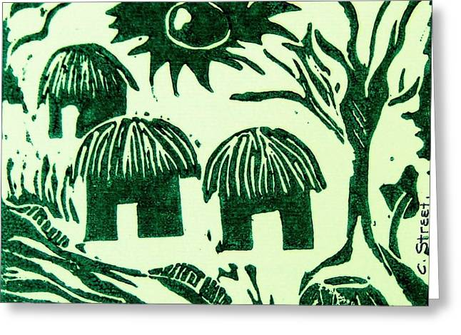 Lino Print Greeting Cards - African Huts Greeting Card by Caroline Street