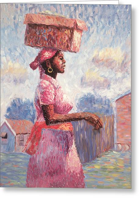 Artist At Work Greeting Cards - African Lady Greeting Card by Carlton Murrell