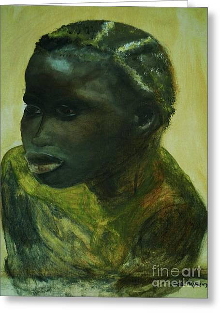 Slavery Paintings Greeting Cards - African Lady Greeting Card by Paula Maybery