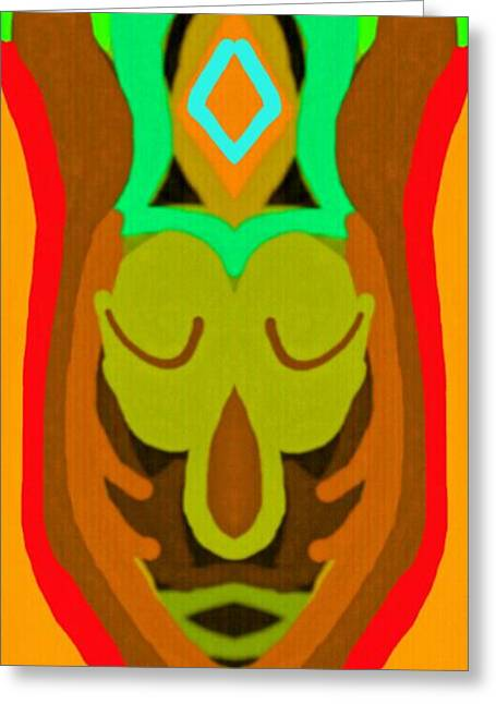 African Heritage Greeting Cards - African Mask 3 Greeting Card by Babatunde Kayode