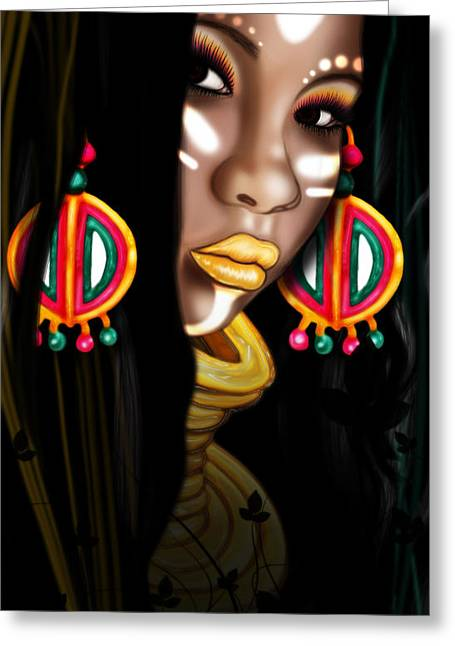 Huntress Greeting Cards - African Princess Greeting Card by Kia Kelliebrew