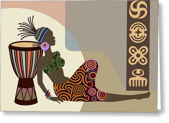 Afrocentric Art Greeting Cards - African Queen III Greeting Card by Lanre Studio