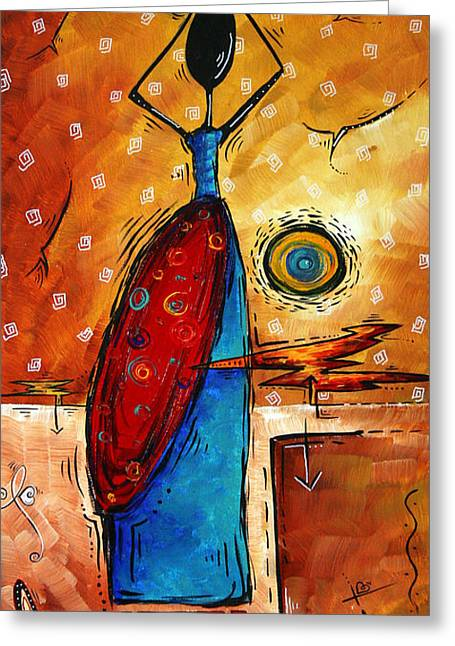 Bask Greeting Cards - AFRICAN QUEEN Original MADART Painting Greeting Card by Megan Duncanson