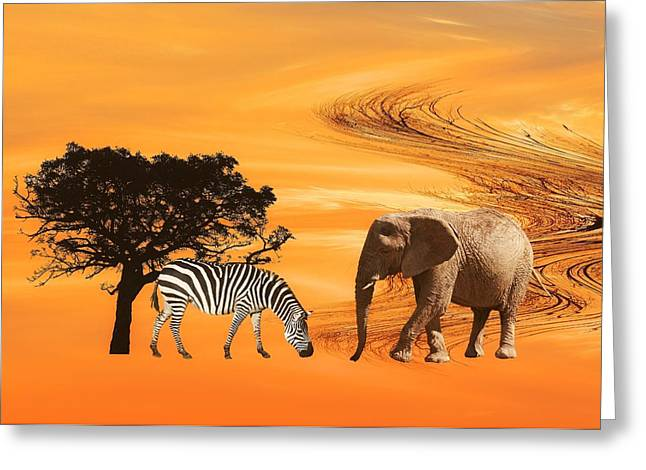 Zebra Canvas Art Prints Greeting Cards - African Safari Greeting Card by Sharon Lisa Clarke