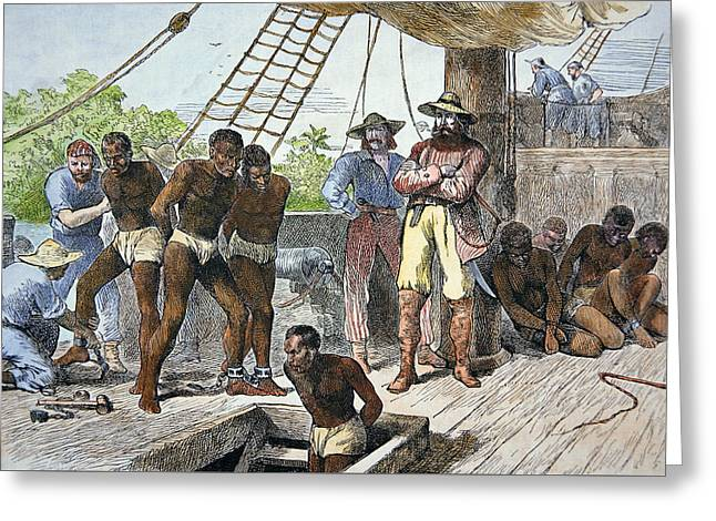 Unfair Greeting Cards - African slaves being taken on board ship bound for USA Greeting Card by American School