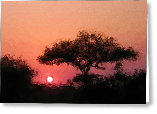 Ladnscape Greeting Cards - African Sunset Greeting Card by David Lane